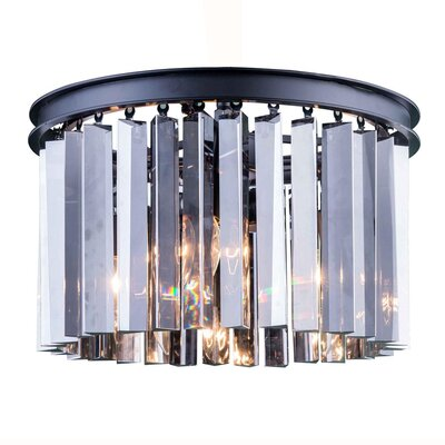 Lavinia 3-Light Flush Mount Finish: Mocha Brown, Size: 10.5 H x 16 W x 16 D, Crystal Color: Silver Shade (Grey)
