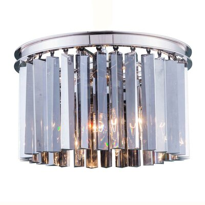 Lavinia 3-Light Flush Mount Finish: Polished Nickel, Size: 10.5 H x 16 W x 16 D, Crystal Color: Silver Shade (Grey)