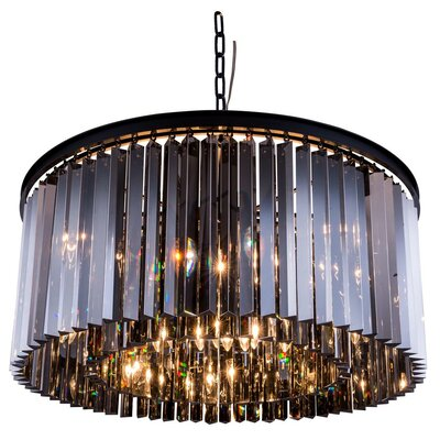 Sydney 8-Light Drum Pendant Finish: Polished Nickel, Crystal: Golden Teak (Smoky), Size: 13.5 H x 26 W x 26 D