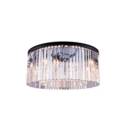 Lavinia 8-Light Flush Mount Finish: Polished Nickel, Size: 13.5 H x 31.5 W x 31.5 D, Crystal Color: Golden Teak (Smoky)