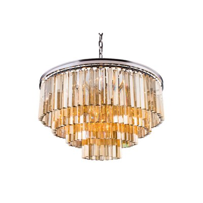 Lavinia 8-Light Drum Crystal Pendant Finish: Polished Nickel, Crystal: Golden Teak (Smoky)