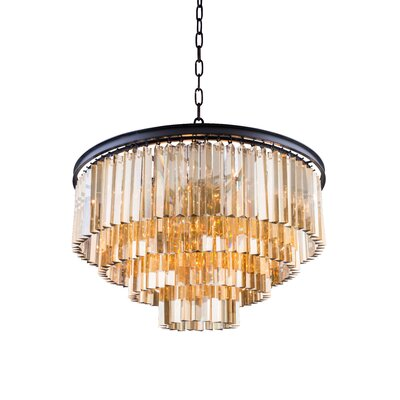 Lavinia 8-Light Drum Crystal Pendant Crystal: Golden Teak (Smoky), Finish: Mocha Brown