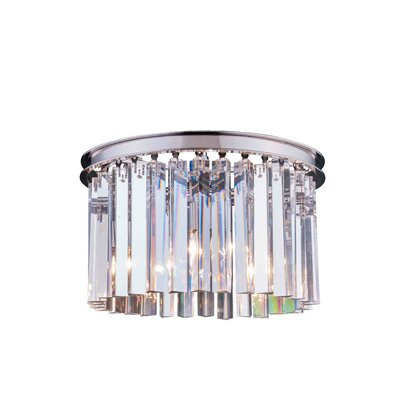 Lavinia 3-Light Flush Mount Finish: Polished Nickel, Size: 10.5 H x 16 W x 16 D, Crystal Color: Crystal (Clear)