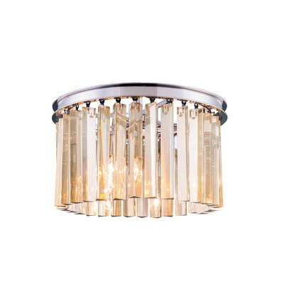 Lavinia 3-Light Flush Mount Finish: Polished Nickel, Size: 10.5 H x 16 W x 16 D, Crystal Color: Golden Teak (Smoky)