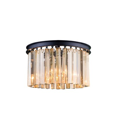 Sydney 3-Light Flush Mount Finish: Mocha Brown, Crystal Color: Golden Teak (Smoky), Size: 10.5 H x 16 W x 16 D