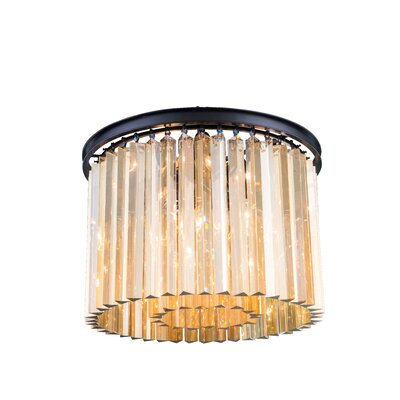 Lavinia 6-Light Flush Mount Finish: Mocha Brown, Crystal Color: Golden Teak (Smoky)