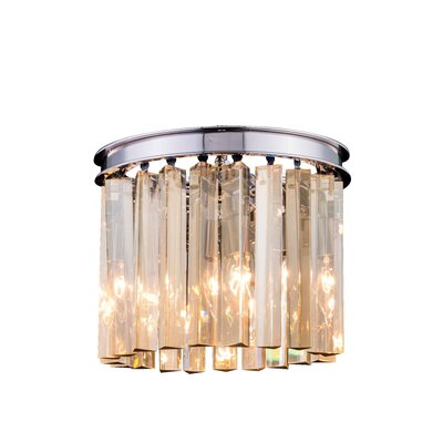 Sydney 3-Light Flush Mount Size: 13 H x 12 W x 12 D, Crystal Color: Golden Teak (Smoky), Finish: Polished Nickel