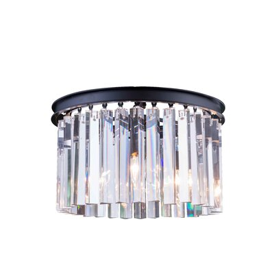 Sydney 3-Light Flush Mount Finish: Mocha Brown, Crystal Color: Crystal (Clear), Size: 10.5 H x 16 W x 16 D