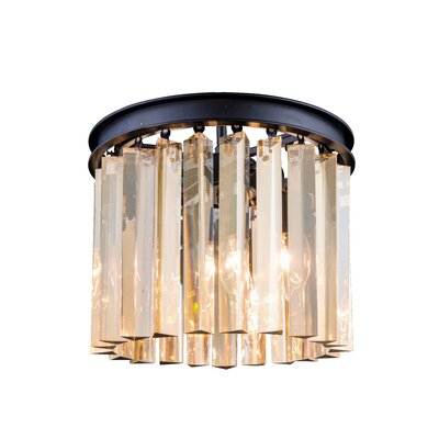 Lavinia 3-Light Flush Mount Finish: Mocha Brown, Size: 13 H x 12 W x 12 D, Crystal Color: Golden Teak (Smoky)