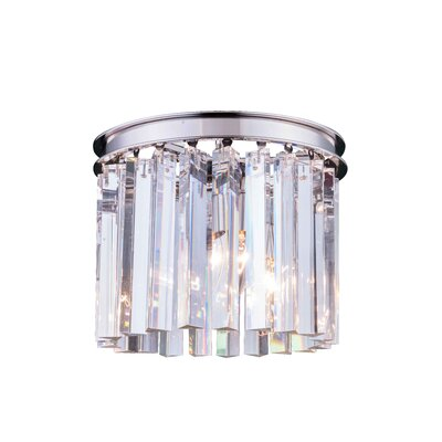 Lavinia 3-Light Flush Mount Finish: Polished Nickel, Size: 13 H x 12 W x 12 D, Crystal Color: Crystal (Clear)