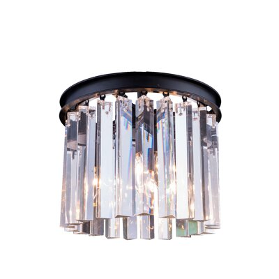 Lavinia 3-Light Flush Mount Finish: Mocha Brown, Size: 13 H x 12 W x 12 D, Crystal Color: Crystal (Clear)