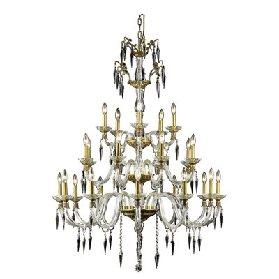 Shaina 25-Light Chain Candle-Style Chandelier Finish: French Gold