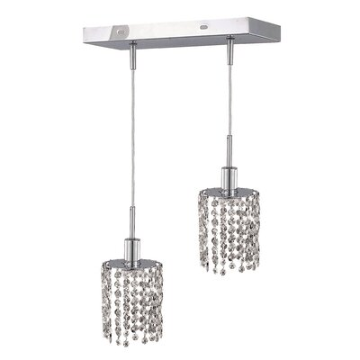 Kruse 2-Light Oblong Canopy Pendant Crystal Color / Crystal Trim: Crystal (Clear) / Royal Cut