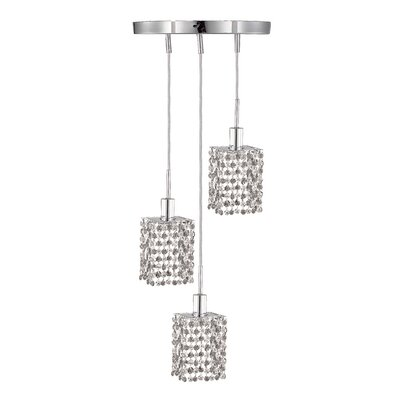 Kruse 3-Light Round Canopy Pendant Crystal Color / Crystal Trim: Crystal (Clear) / Elegant Cut