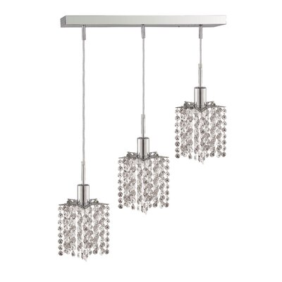 Kruse 3-Light Oblong Canopy Pendant Crystal Color / Crystal Trim: Crystal (Clear) / Royal Cut