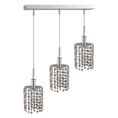 Kruse 3-Light Glass Shade Pendant Crystal Color / Crystal Trim: Crystal (Clear) / Royal Cut