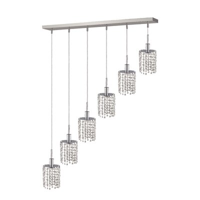 Kruse 6-Light Glass Shade Pendant Crystal Color / Crystal Trim: Crystal (Clear) / Royal Cut