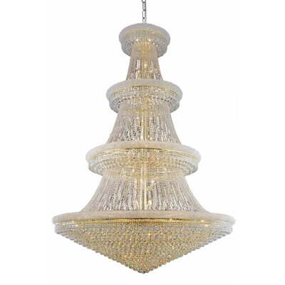 Jessenia 66-Light Chain Crystal Chandelier Finish: Gold, Crystal Grade: Royal Cut
