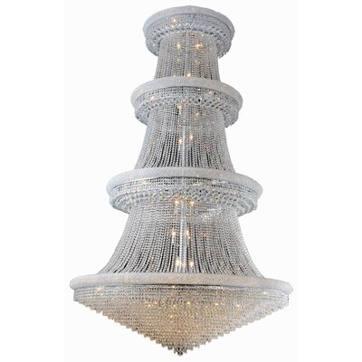 Jessenia 56-Light Chain Crystal Chandelier with Canopy Finish: Chrome, Crystal Grade: Swarovski Elements
