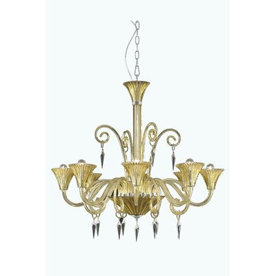 Symphony 8-Light Shaded Chandelier Crystal Grade: Swarovski Elements, Finish: Red