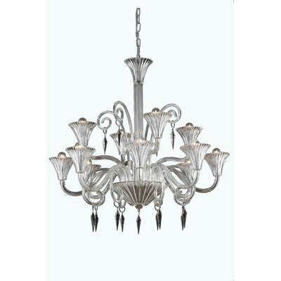 Katherin 12-Light Shaded Chandelier Crystal Grade: Elegant Cut, Finish: Yellow