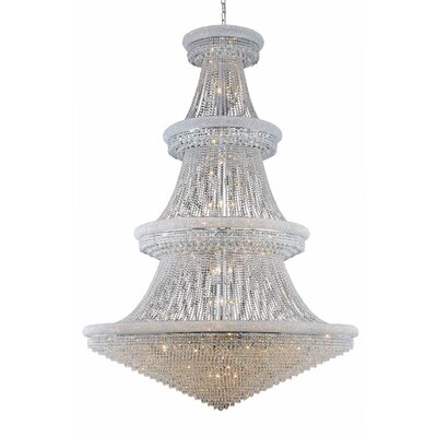 Jessenia 66-Light Chain Crystal Chandelier with Canopy Finish: Chrome, Crystal Grade: Elegant Cut
