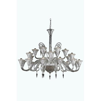 Katherin 24-Light Shaded Chandelier Finish: Red, Crystal Grade: Elegant Cut