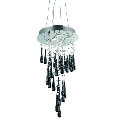 Hensler 5-Light Royal Cut Crystal Chandelier Crystal Color: Black