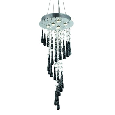 Hensler Contemporary 5-Light Crystal Chandelier Size: 96 H x 16 W x 16 D, Crystal Color: Black