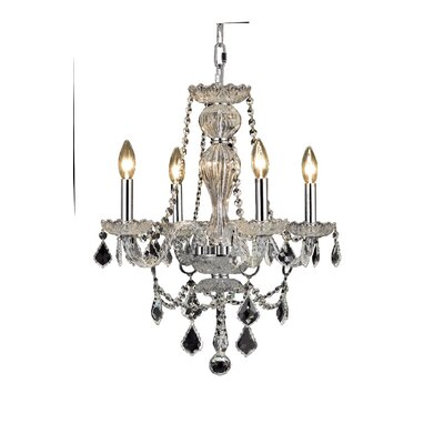 Lesli 4-Light Crystal Chandelier Finish: Chrome