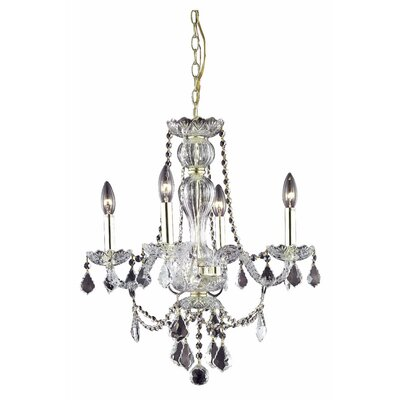 Lesli 4-Light Crystal Chandelier Finish: Gold