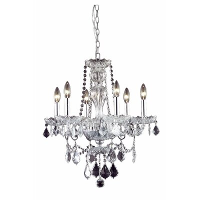 Lesli 6-Light Crystal Chandelier Finish: Chrome