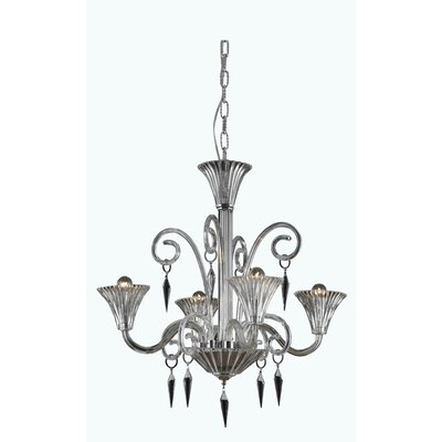 Katherin 4-Light Crystal Chandelier Finish: Red, Crystal Grade: Elegant Cut