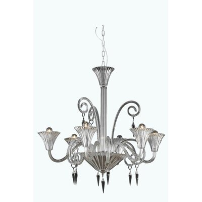 Katherin 6-Light Shaded Chandelier Crystal Grade: Spectra Swarovski, Finish: Clear