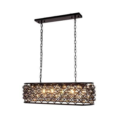 Morion 6-Light Kitchen Island Pendant Finish: Polished Nickel, Shade Color: Golden Teak Smoky