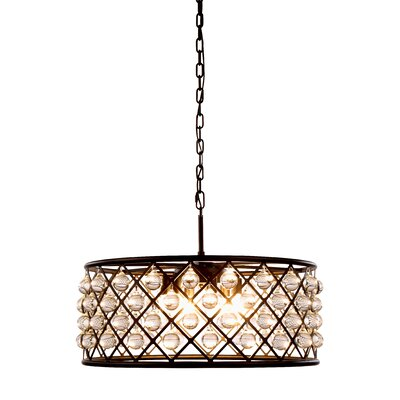 Morion Transitional 6-Light Iron Drum Pendant Finish: Mocha Brown