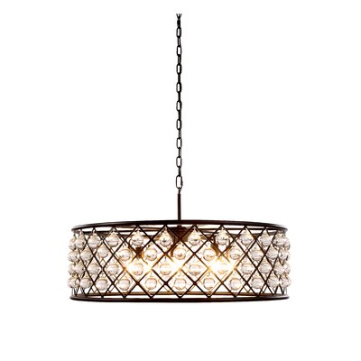 Morion 8-Light Crystal Drum Pendant Finish: Polished Nickel