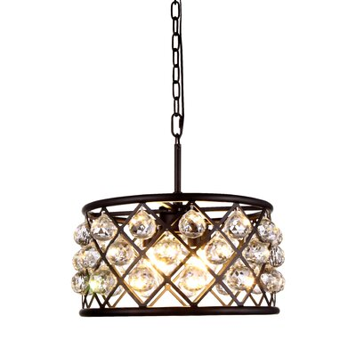 Morion 4-Light Metal Drum Pendant Finish: Mocha Brown, Shade Color: Crystal Clear