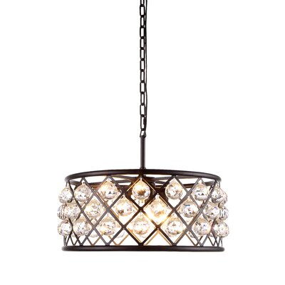 Morion 5-Light Drum Pendant Finish: Polished Nickel, Shade Color: Golden Teak Smoky