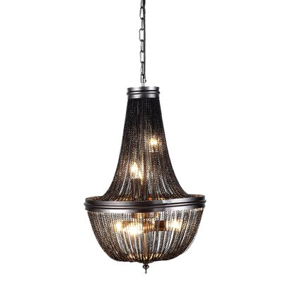 Corundum 6-Light Crystal Pendant Finish: Pewter, Size: 22.5 H x 14 W x 14 D