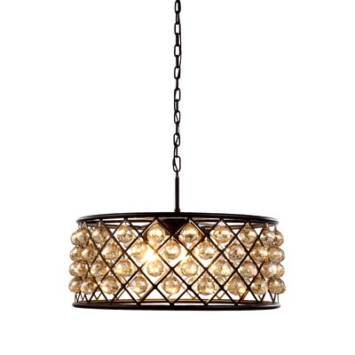 Morion 6-Light Metal Drum Pendant Finish: Mocha Brown, Shade Color: Silver Grey