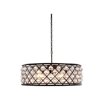 Morion 8-Light Metal Drum Pendant Finish: Mocha Brown, Shade Color: Crystal Clear