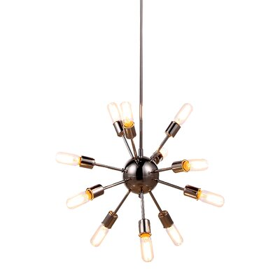 Ashe 12-Light Cluster Pendant Finish: Polished Nickel, Size: 63.5 H x 21 W x 21 D