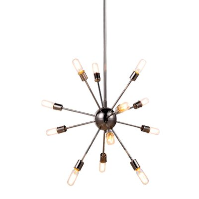 Ashe 12-Light Cluster Pendant Finish: Polished Nickel, Size: 67.5 H x 30 W x 30 D