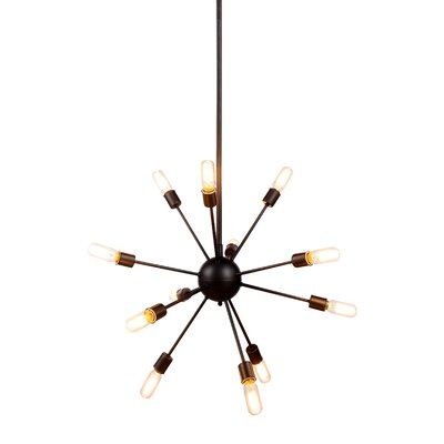 Ashe 12-Light Cluster Pendant Finish: Vintage Steel, Size: 67.5 H x 30 W x 30 D