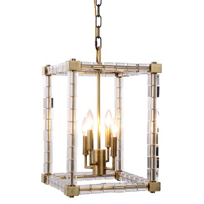 Crescentia 4-Light Foyer Pendant Finish: Burnished Brass