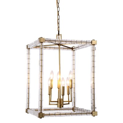 Cristal 6-Light Foyer Pendant Finish: Burnished Brass