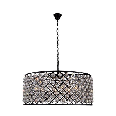 Morion Transitional 10-Light Drum Pendant Shade Color: Clear, Finish: Polished Nickel