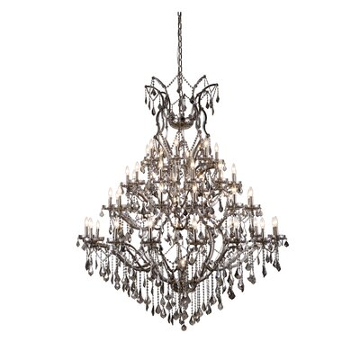 Elena 49-Light Crystal Chandelier Finish: Polished Nickel, Shade Color: Clear