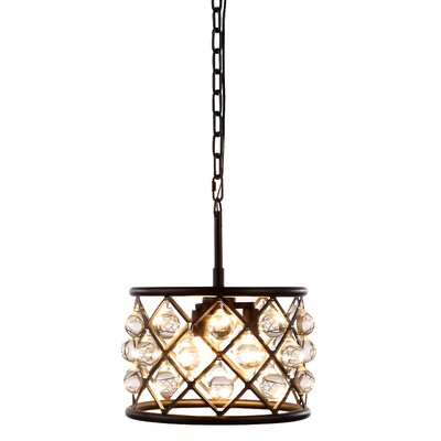 Morion 3-Light Metal Drum Pendant Finish: Mocha Brown